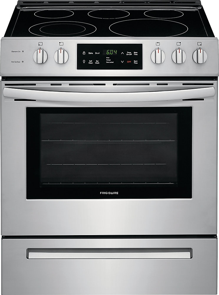 30-inch 5.0 cu. ft. Front Control Freestanding Electric Range with Self-Cleaning Oven in Stainless Steel