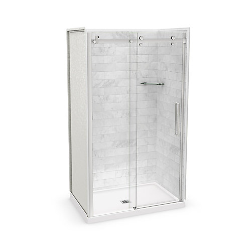 Utile 48-inch x 32-inch x 84-inch Marble Carrara Alcove Shower Kit Center Drain with Door in Chrome