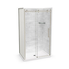 Utile 48-inch x 32-inch x 84-inch Marble Carrara Alcove Shower Kit Center Drain with Door in Brushed Nickel