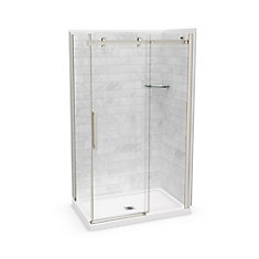 Utile 48-inch x 32-inch x 84-inch Marble Carrara Corner Shower Kit Center Drain with Door in Chrome