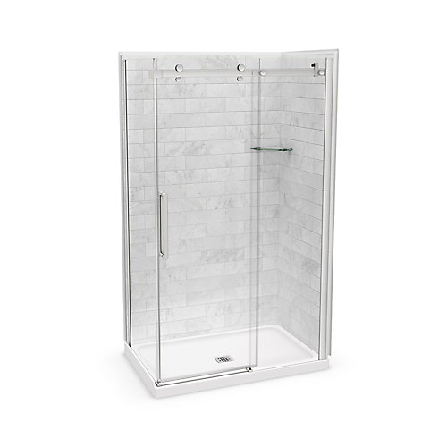 Utile 48-inch x 32-inch x 84-inch Marble Carrara Corner Shower Kit Center Drain with Door in Brushed Nickel