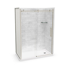 Utile 60-inch x 32-inch x 84-inch Marble Carrara Alcove Shower Kit Right Drain with Door in Brushed Nickel