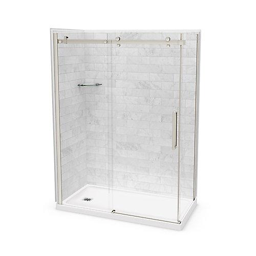 Utile 60-inch x 32-inch x 84-inch Marble Carrara Corner Shower Kit Left Drain with Door in Brushed Nickel