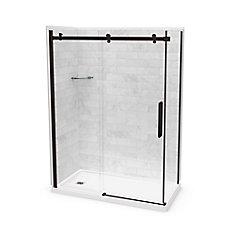 Utile 60-inch x 32-inch x 84-inch Marble Carrara Corner Shower Kit Left Drain with Door in Dark Bronze
