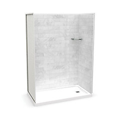 Utile 60-inch x 32-inch x 84-inch Marble Carrara Alcove Shower with Olympia Base Right Drain