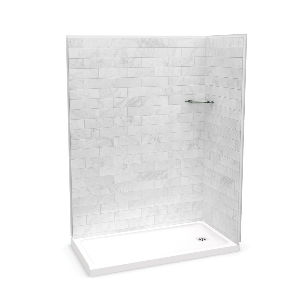 MAAX Utile 60-inch x 32-inch x 84-inch Marble Carrara Corner Shower with Olympia Base Left Drain