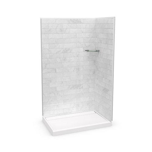 Utile 48-inch x 32-inch x 84-inch Marble Carrara Corner Shower with Distinct Base Back-centre Drain
