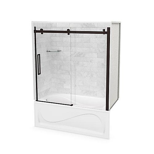Utile 60-inch x 30-inch x 81-inch Marble Carrara Tub Shower Kit Left Drain with Door in Dark Bronze