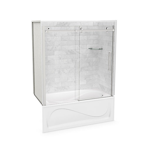 Utile 60-inch x 30-inch x 81-inch Marble Carrara Tub Shower Kit Right Drain with Door in Chrome