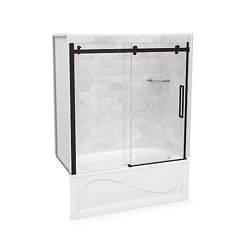 Utile 60-inch x 30-inch x 81-inch Marble Carrara Tub Shower Kit Right Drain with Door in Dark Bronze
