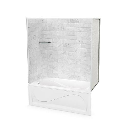 Utile 60-inch x 30-inch x 81-inch Marble Carrara Tub Shower with Cocoon Bathtub Left Drain