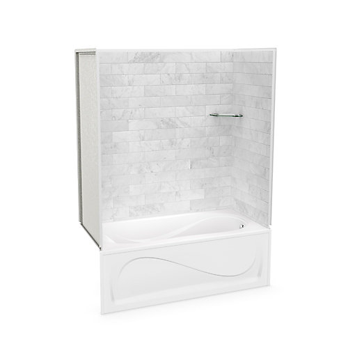 Utile 60-inch x 30-inch x 81-inch Marble Carrara Tub Shower with Cocoon Bathtub Right Drain