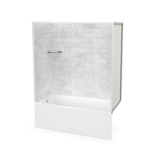 Utile 60-inch x 30-inch x 78-inch Marble Carrara Tub Shower with Bosca Bathtub Left Drain