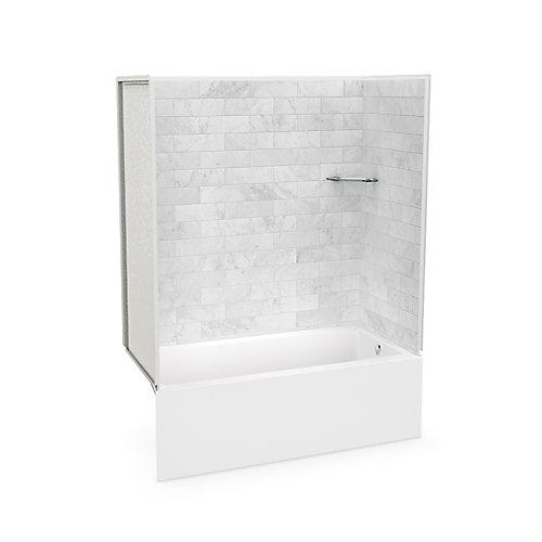 Utile 60-inch x 30-inch x 78-inch Marble Carrara Tub Shower with Bosca Bathtub Right Drain