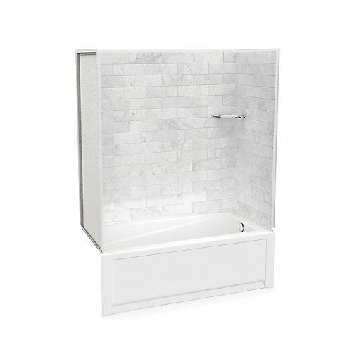 Utile 60-inch x 30-inch x 80 1/2-inch Marble Carrara Tub Shower with New Town Bathtub Right Drain