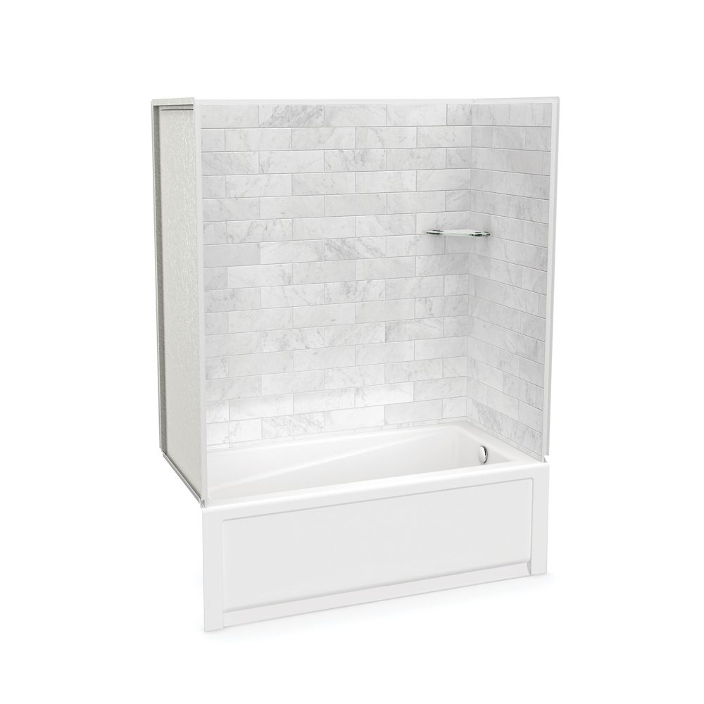 MAAX Utile 60-inch x 30-inch x 80 1/2-inch Marble Carrara Tub Shower with New Town Bathtub Right Drain