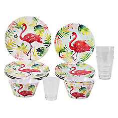 16-Piece dinnerware set-flamingo