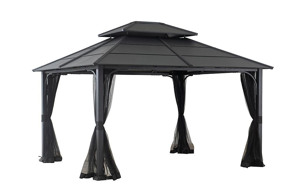 Pavillon de jardin avec toit robuste Farrington, gris carbone