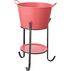 Hampton Bay Party Tub Decorative Ice and Beverage Container with Stand in Spiced Coral