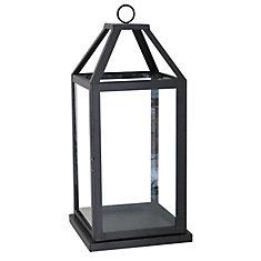 20 inch Metal and Glass Lantern-Black Finish