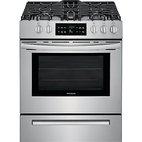 30-inch 5.0 cu. ft. Front Control Freestanding Gas Range with Self-Cleaning Oven in Stainless Steel