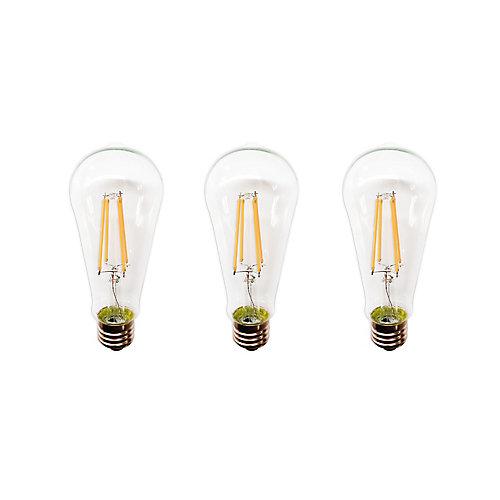 Ampoule transparente à DEL, intensité variable, ST19, 60W, blanc doux, ens. de 3