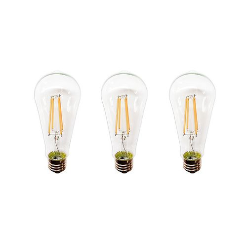 Ecosmart 60W Clear Soft White ST19 Dimmable LED Light Bulb (3-Pack)