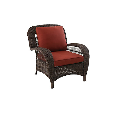 Beacon Park Steel Patio Stationary Lounge Chair with Orange Cushions