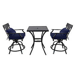 Hampton Bay Coopersmith - 3-Piece Steel High Dining Set with Swivel Chair (Blue)