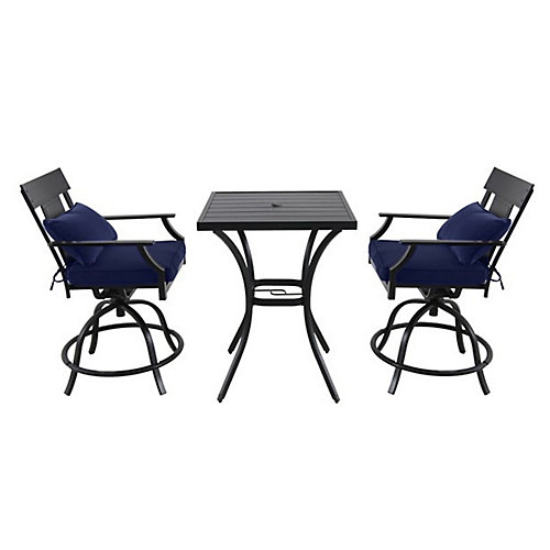 Coopersmith 3-Piece Steel Patio High Dining Set with Swivel Chair in Blue
