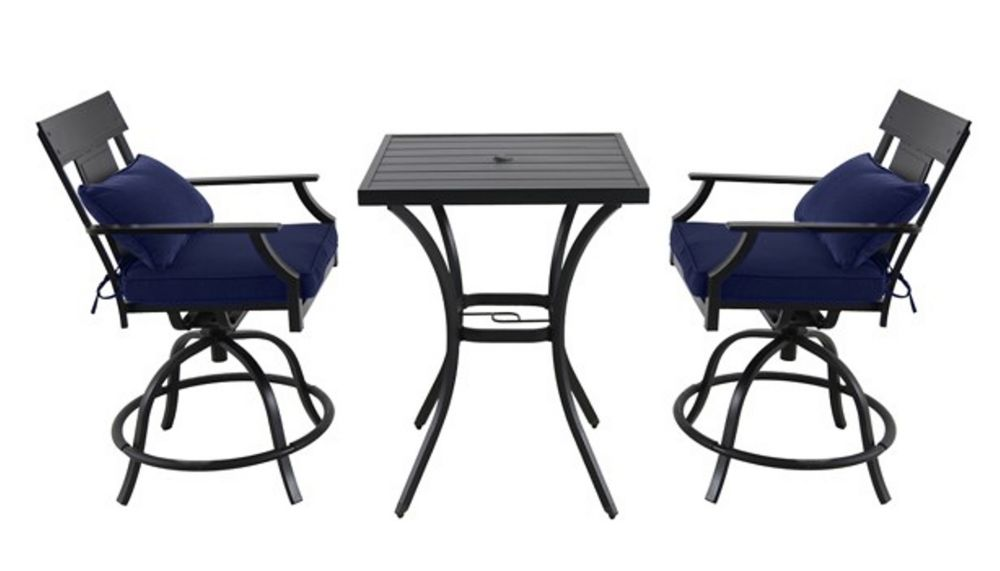 Hampton Bay Coopersmith - 3 Piece Steel High Dining Set with Swivel Chair (Blue)