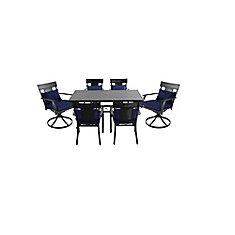 Mobilier de salle à manger de 7 pièces en acier Coopersmith - Bleu marine