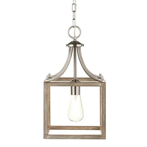 Home Decorators Collection Boswell Quarter 9.44-inch 1-Light Brushed Nickel Kitchen Island Mini Pendant with Painted Weathered Gray Wood Accents
