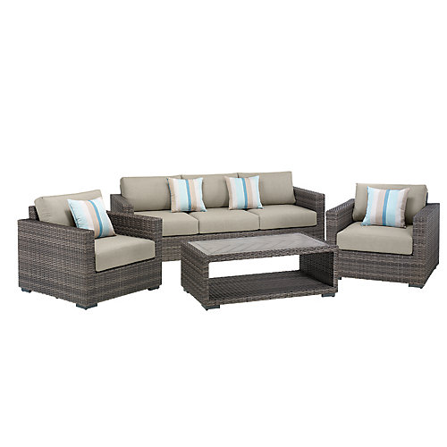 Palmetto 4-Piece All-Weather Wicker Patio Chat Set with Grey Cushions
