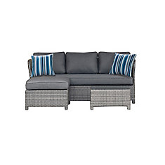 Napa 3-Piece Wicker Patio Sectional Seating Set with Grey Cushions