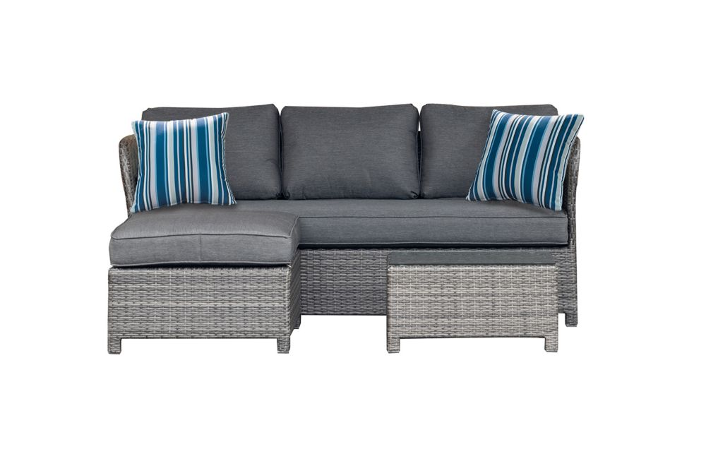 Hampton Bay Napa 3-Piece Wicker Patio Sectional Seating Set with Grey Cushions