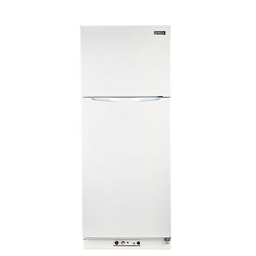 9.4 pi. Cu. Réfrigérateur au propane à congélateur supérieur  équippé de détecteur de CO avec un arrête de sécurité