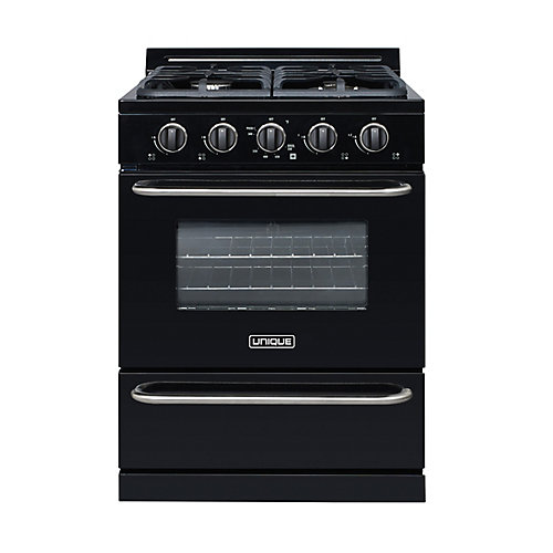 30-inch 3.9 cu. Ft. Propane Off-Grid Range with Battery Ignition Sealed Burners in Black