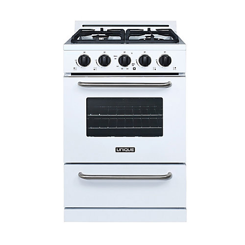 24-inch 3.1 cu. ft. Propane Off-Grid Range with Battery Ignition Sealed Burners in White