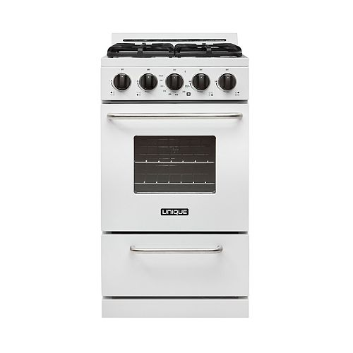 Unique Classic 20-inch 2.4 cu. ft. Propane Off-Grid Range with Battery Ignition Sealed Burners in White