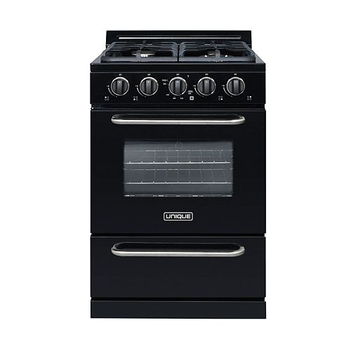 Unique Classic Plus 24-inch 2.9 cu. ft. Gas Convection Range Sealed Burners in Black