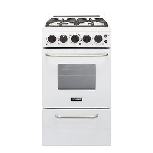 Unique Classic Plus 20-inch 2.3 cu. ft. Gas Convection Range Sealed Burners in White