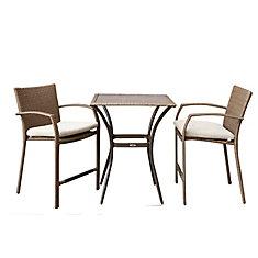 Ensemble bistro de patio en osier brun pâle Delaronde de 3 pièces avec coussins de siège havane
