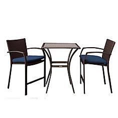 Ensemble bistro de patio 3 pièces en osier brun foncé avec coussins de siège bleu marine Delaronde