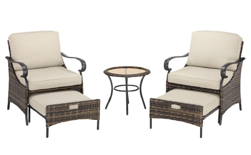 Hampton Bay James Creek 5-Piece Outdoor Patio Seating Set with Olefin Cushions