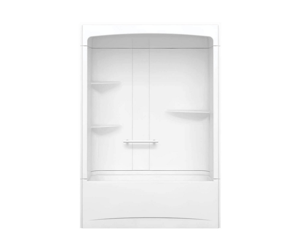 Camelia 60 inch x 32 inch x 88 inch 3-piece Acrylic Tub and Shower with Left Drain in White