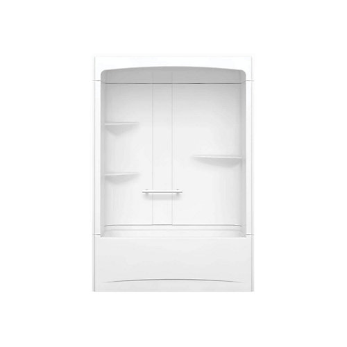 Camelia 60 inch x 32 inch x 88 inch 3-piece Acrylic Tub and Shower with Right Drain in White