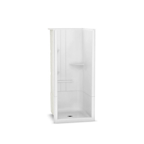 Camelia 36 inch x 36 inch x 79 inch 2-piece Acrylic Shower with Center Drain in White
