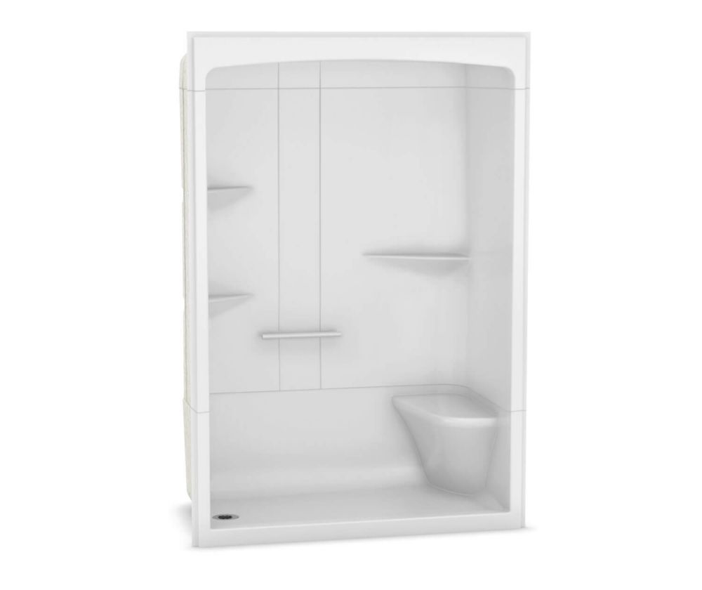 MAAX Camelia 60 inch x 34 inch x 88 inch 3-piece Acrylic Shower with Left Drain and Right Seat in White