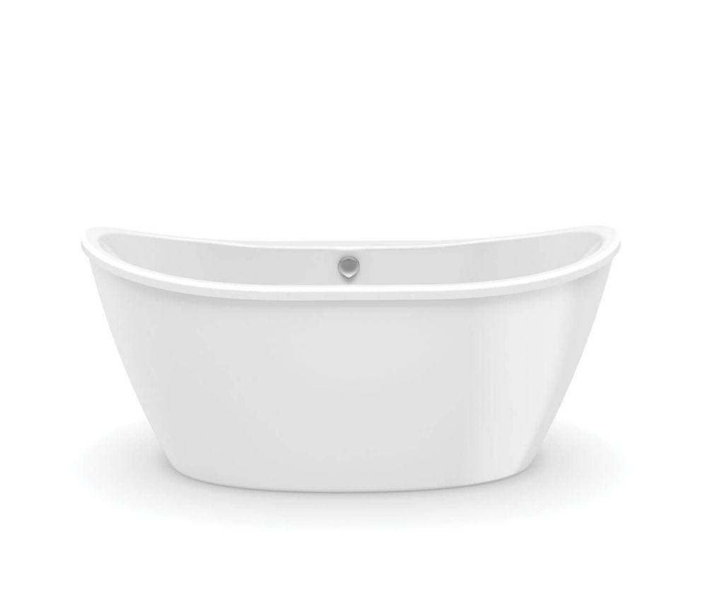MAAX Baignoire autoportante ovale Delsia avec drain décentré, 5 pi, en fibre de verre blanc, 2-pièces